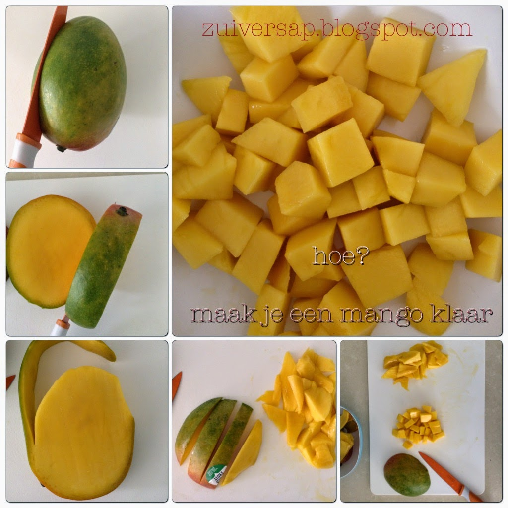 Hoe snij je een mango in blokjes?