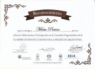 Mirta PRAINO recibe un Reconocimiento otorgado como Miembro de la Comisión Organizadora CIMA2018