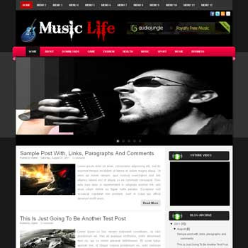 Music Life blogger template. download music template for blogger