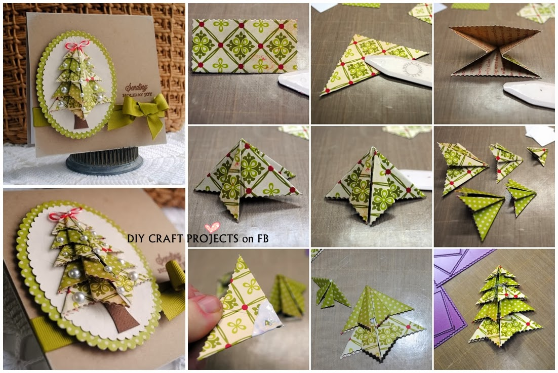 Origami christmas tree card diy craft projects for How to make folded christmas cards