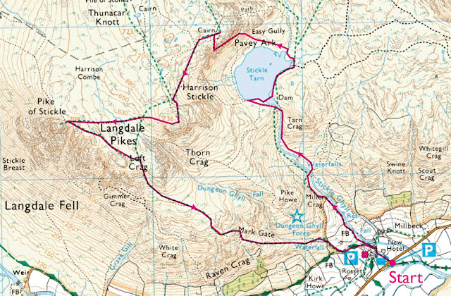 Map Langdale Pikes, Jacks rake, Ambleside, Windermere, Pavey Ark, HARRISON STICKLE, Pike of Stickle, Old Dungeon Ghyll Hotel, Lake District Walks Best
