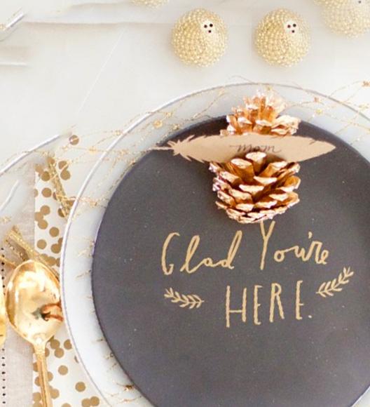 table du nouvel an idée déco or