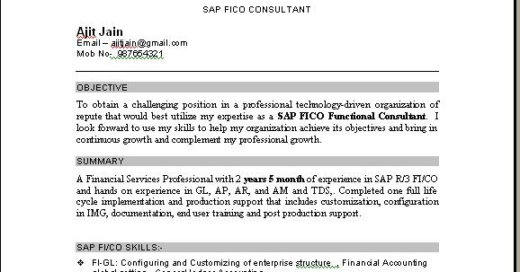 sap fico consultant resume download - Sap Fico Resume Sample
