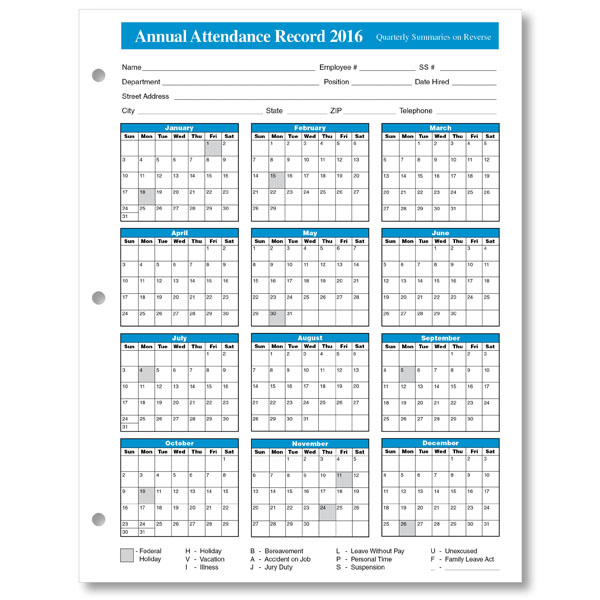 printable 2016 employee attendance calendar