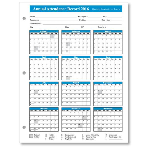 ... free 2016 Calendar for employee attandance, attendance 2016 calendar