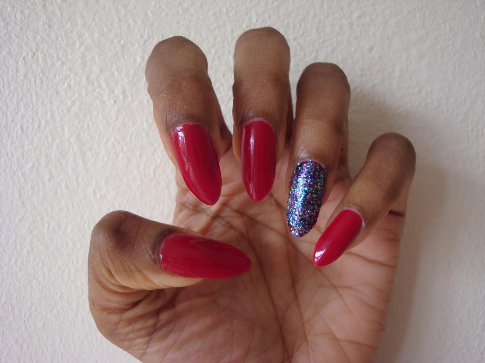 ArtzeeNailz: Red Nails with Glitter Feature Nail