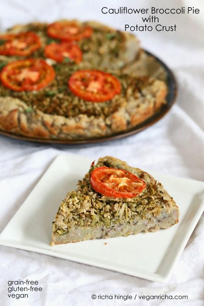 Cauliflower Broccoli Masala Pie with Potato Black Eyed Pea Crust ...