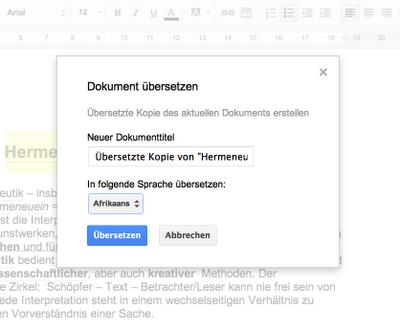 Screenshot der Funktion Dokument übersetzen innerhalb von Google Docs
