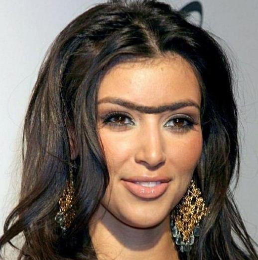 E se as celebridades tivessem monocelha?, imagens, humor,unibrow, monocelha, kim kardashian, eu adoro morar na internet