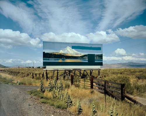 masters of photography : Stephen Shore : photo of poster in highway