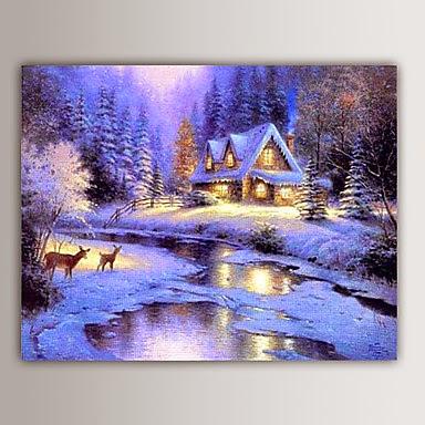 Pintura Navideña paisaje nevado
