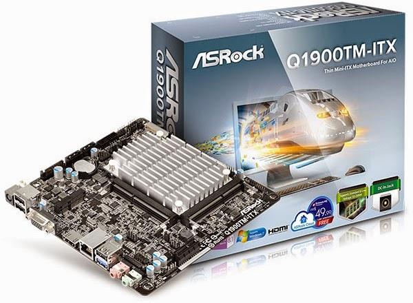 материнская плата Q1900TM-ITX в коробке и рядом