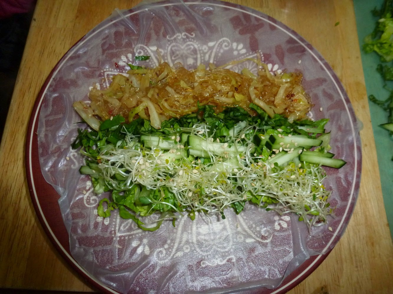 ... alfalfa sprouts, cilantro, sesame seeds and cooked vermicelli noodles