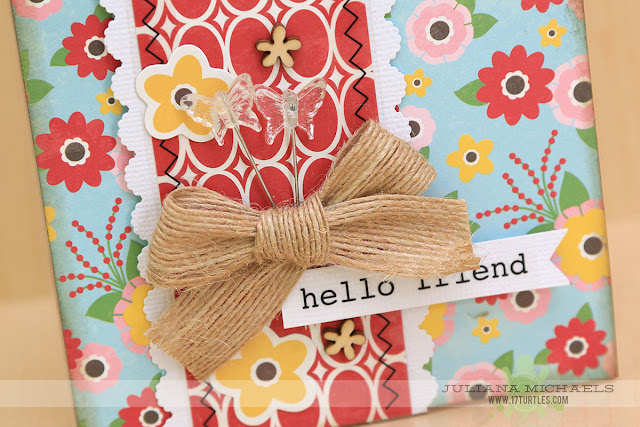 Hello Friend Gift Box by Juliana Michaels featuring Jillibean Soup Sew Sweet Sunshine Soup and SRM Stickers Gift Box for the July 2015 Scrapbook Generation Create Magazine