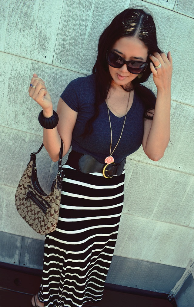 striped dress as skirt