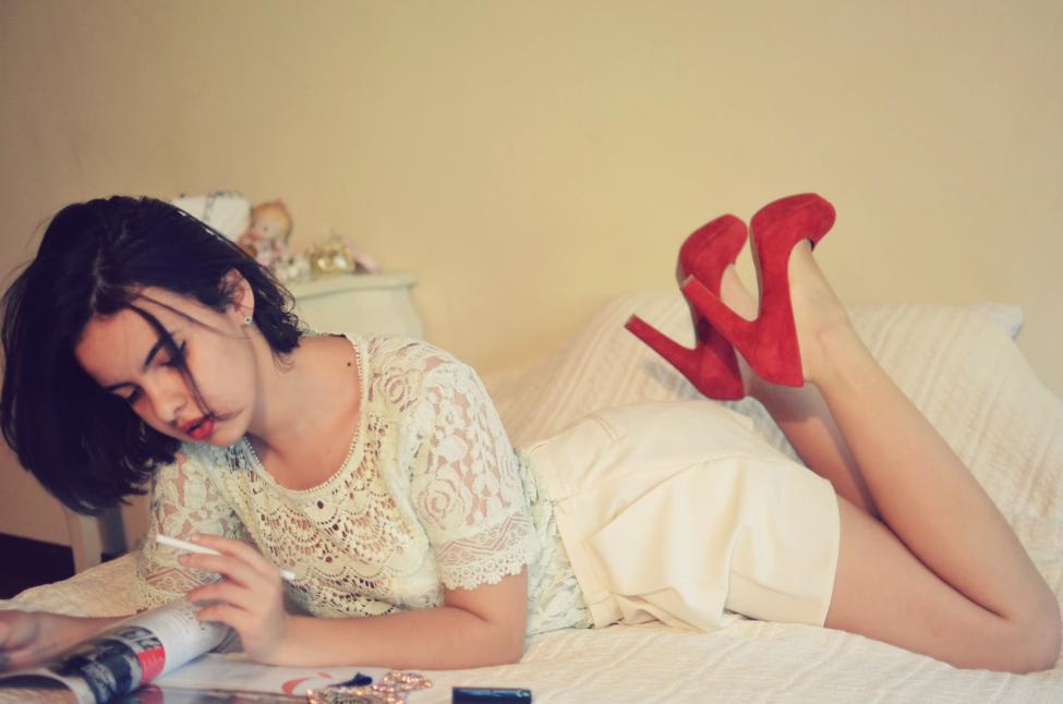 theserialshopper posing in a boudoir decor, full body