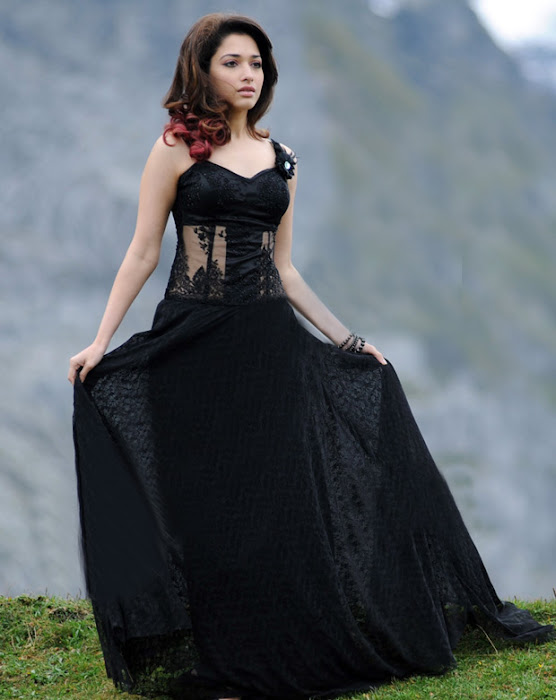 tamanna very in black dress cute stills
