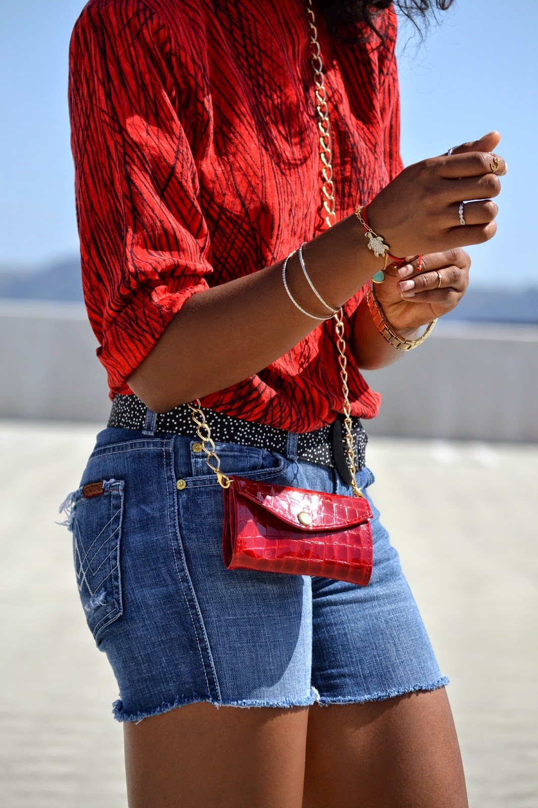 Wearing 7 For All Mankind denim cutoffs Vintage Dotted belt Gabbag crossbody bag CaravelleNY watch