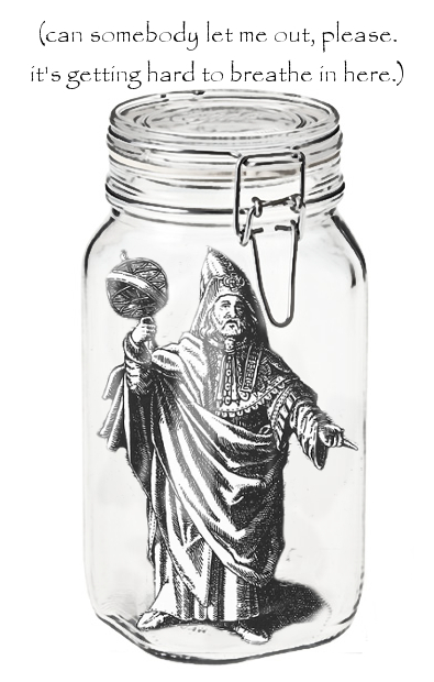 Hermes Trismegistus in a hermetically sealed jar.
