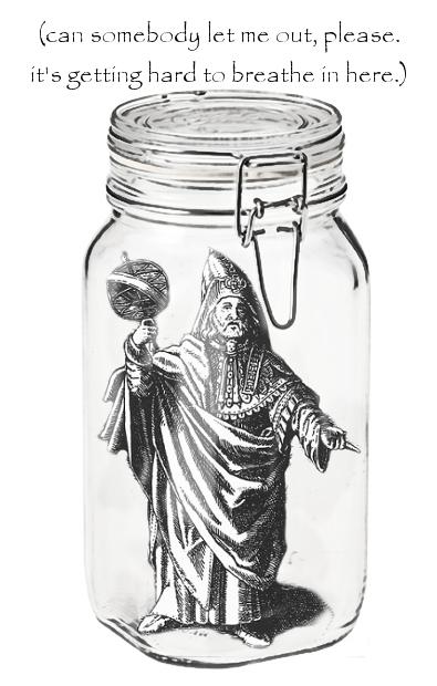 Hermes Trismegistus in a hermetically sealed jar.