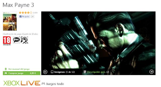 Max Payne por 400 Microsoft Points o 5€