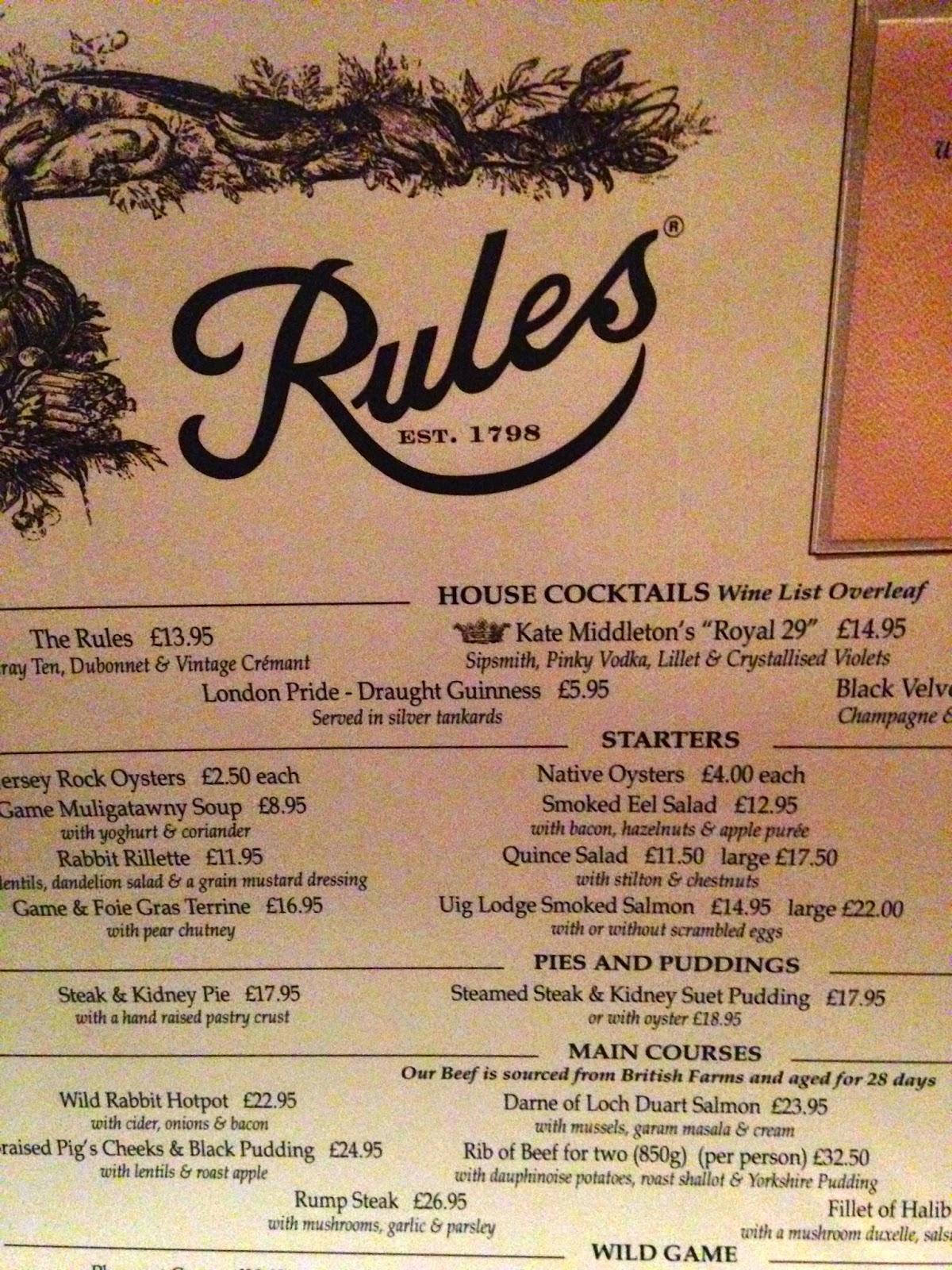Rules menu