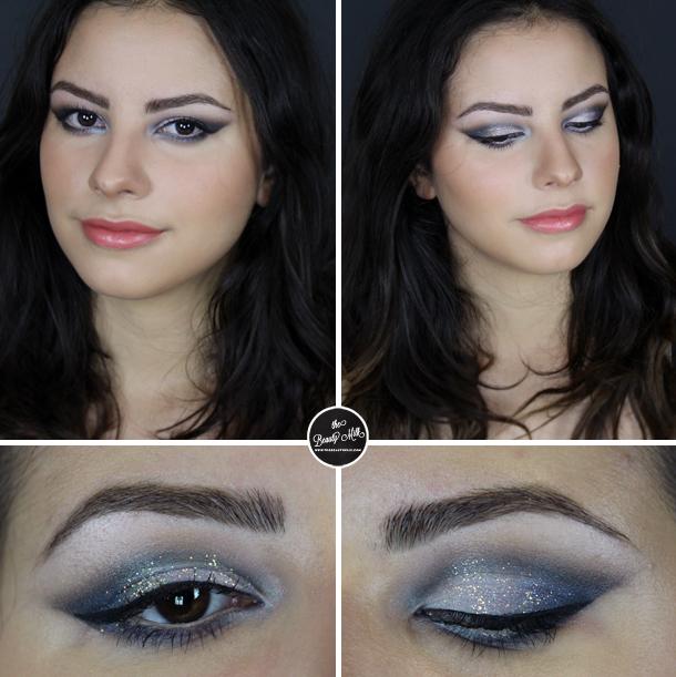gunmetal grey glitter clubbing makeup look mac makeup forever tilt illamasqua