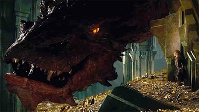 "Smaug and Martin Freeman in ""The Hobbit: The Desolation of Smaug"""