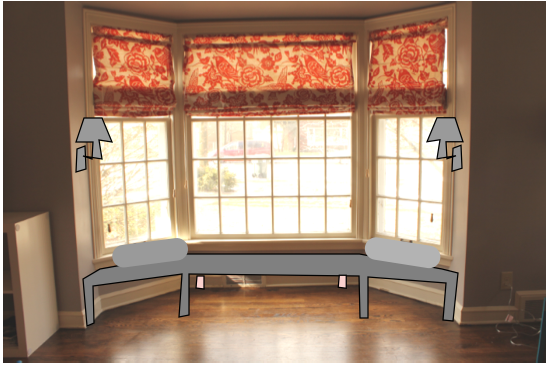 Bluet clover roman shades complete for Roman shades for bay window