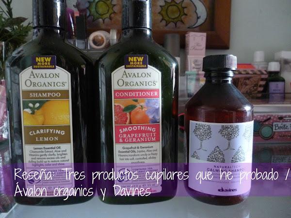 Reseña: Tres productos capilares que he probado / Ávalon Organics y Davines