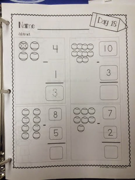 math worksheet : daily math practice level 4 subtraction with visuals  the  : Math Worksheets For Special Needs Students