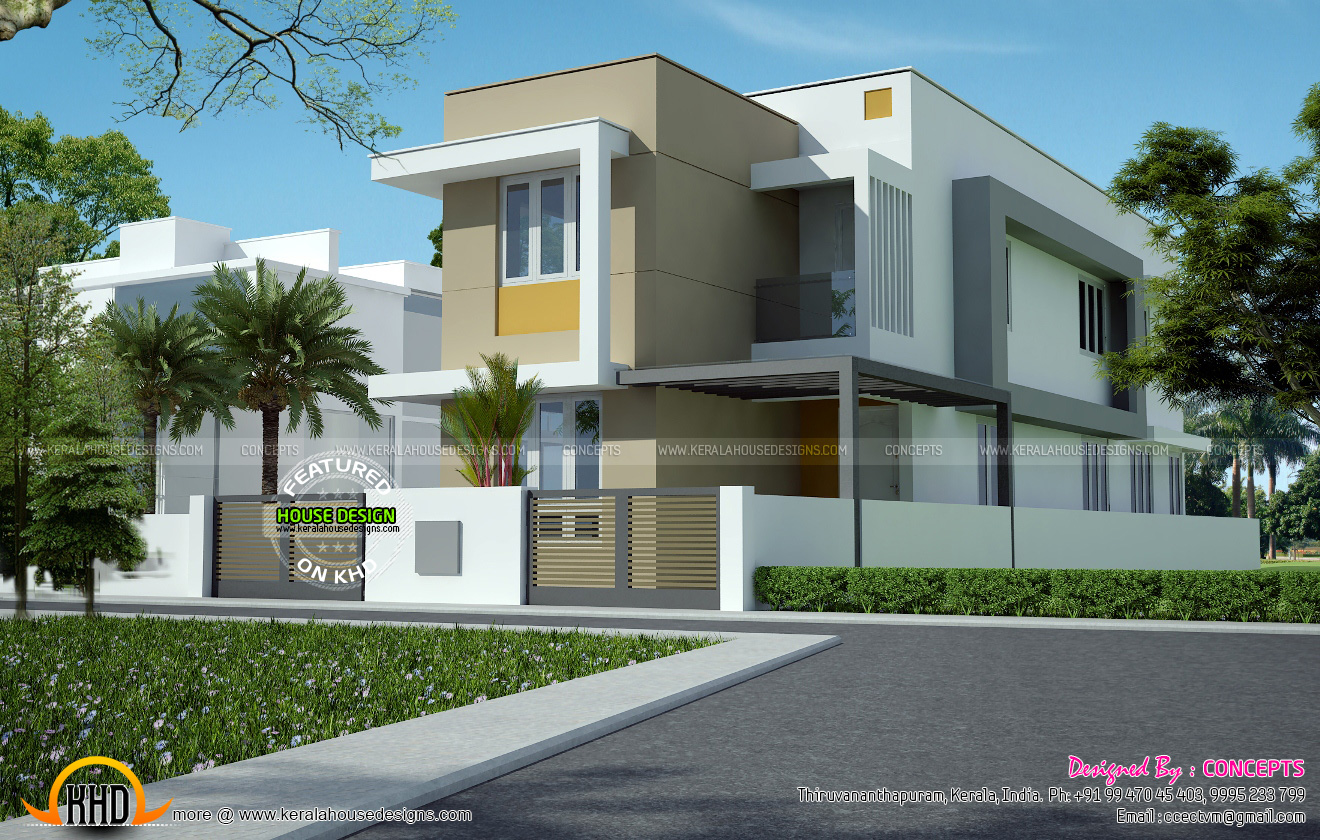 Floor plan and house architecture kerala home design and for Flat roof elevation