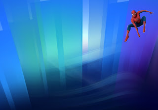Spiderman Posters Comic Super Hero Flying Wallpapers in Crystal Landscape background