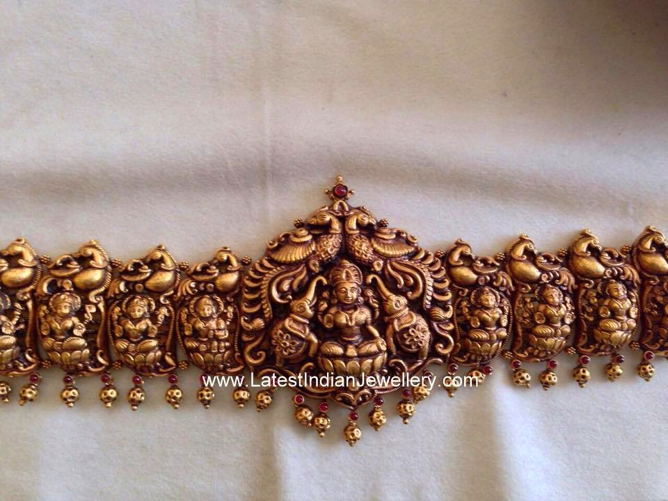 Peacock and Lakshmi Design Gold Vaddanam