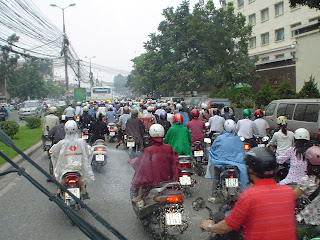 Hanoi traffic. Rush hour in Vietnam