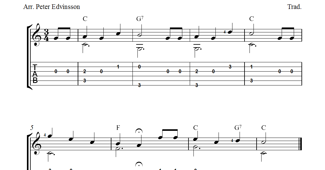 Free guitar tablature sheet music, Happy Birthday To You soloversion