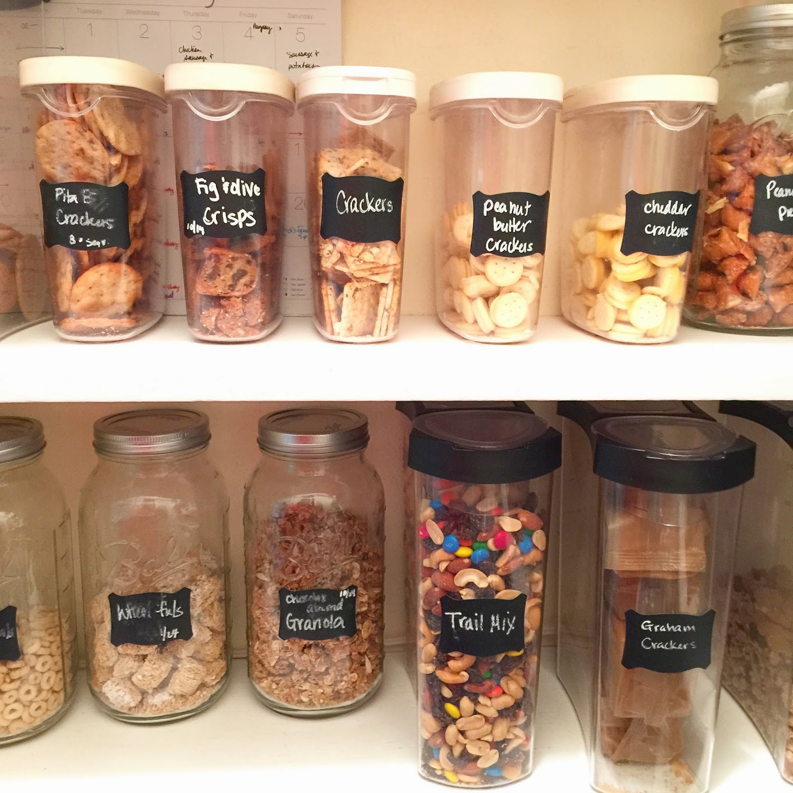 Organized pantry with clear containers to see how much is left :: OrganizingMadeFun.com