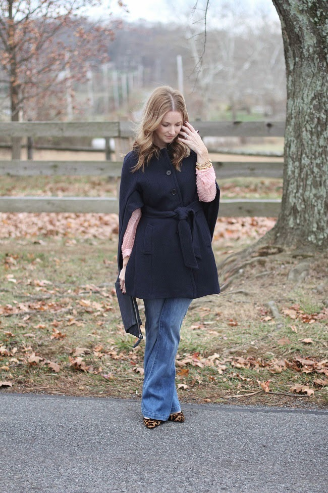 ann taylor cape, goldsign jeans, jcrew heels, asos clutch, jcrew earrings