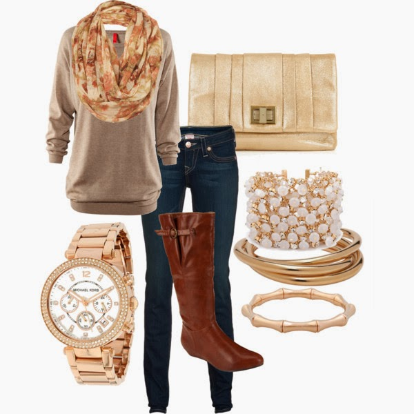 Fashionable Michael Kors Watch, Grey Sweater with Circle Scarf, Brown Long Boots, Dark Blue Modern Jeans and Golden Clutch Bag with Adorable Accessories, Fashion for Fall