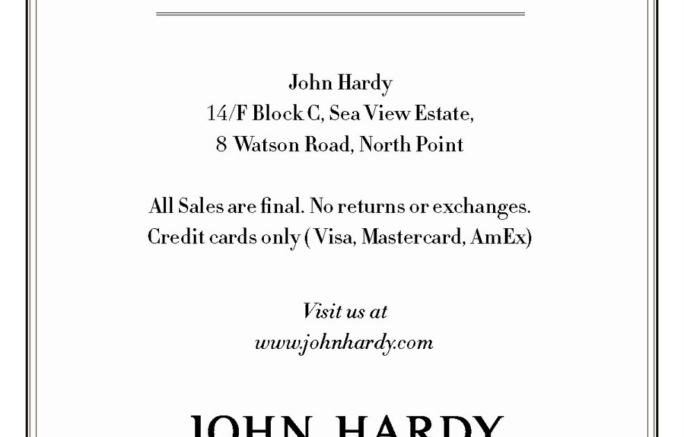 Hong Kong Fashion Geek: Private Sale: John Hardy