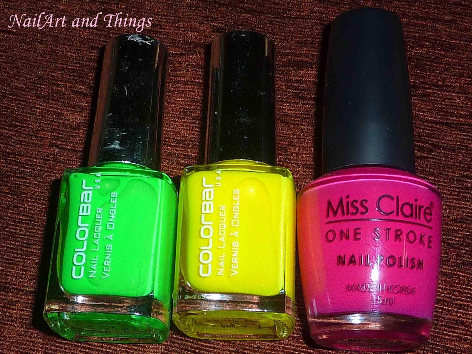 NailArt and Things: Neon Tiger Print Nail Art: Using Colorbar Neons