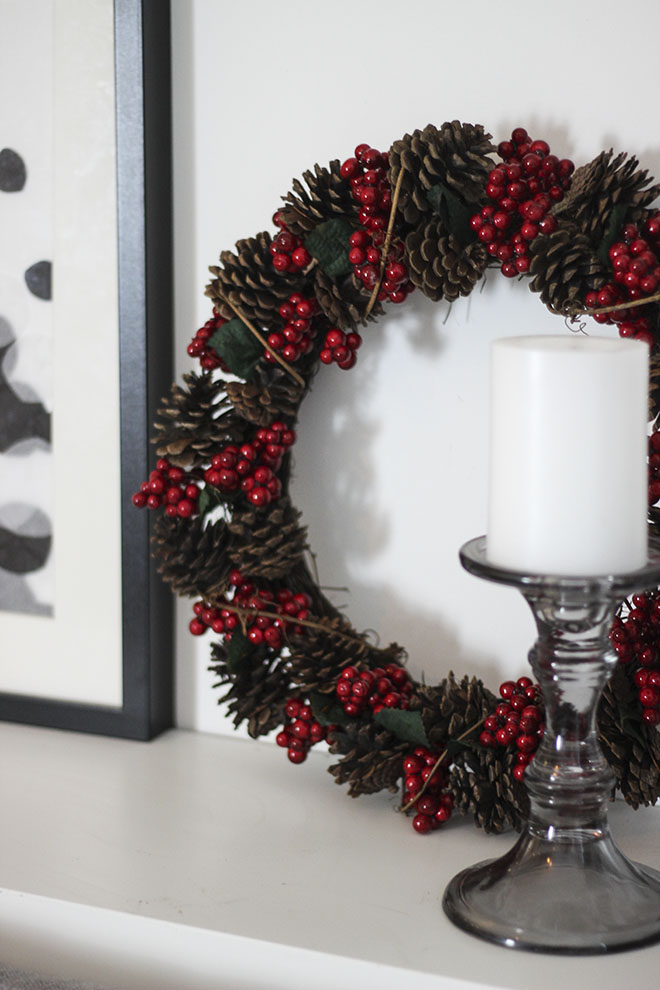 Christmas 2014 Decoration Ideas - Berry and Pinecone wreaths