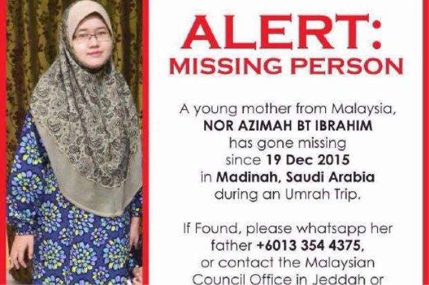 Azimah hubungi rakan tanya cara kahwini warga Arab sebelum hilang di Madinah