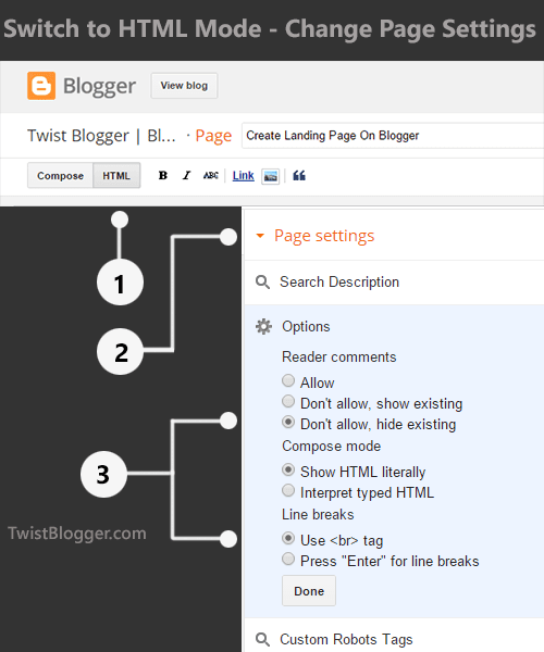 Change Page Settings On Blogger and Switch to HTML Mode