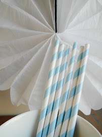 Paperstraws hellblau / weiss