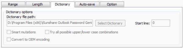 choose Dictionary password attack for Outlook file