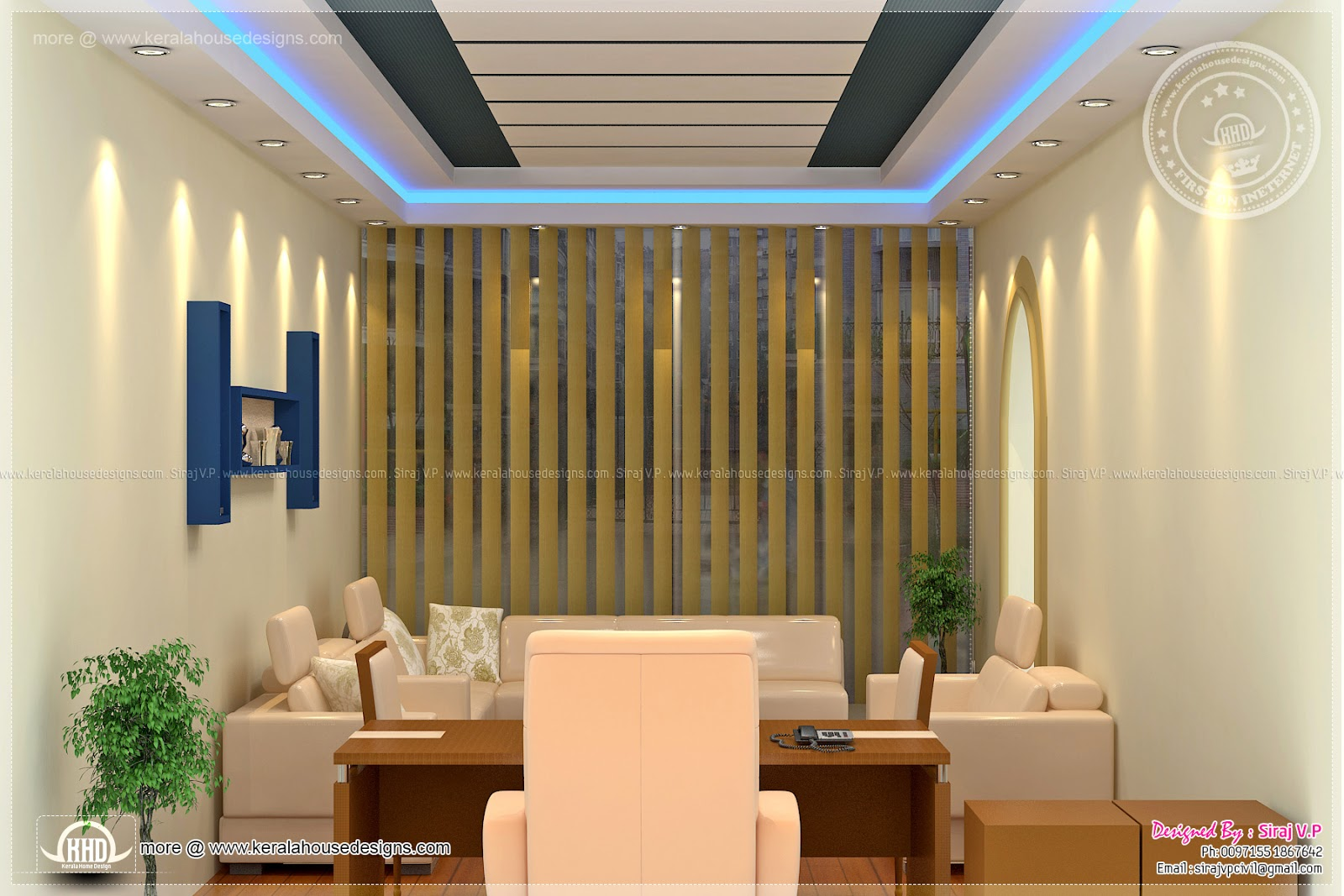 Home office interior design by siraj v p home kerala plans for Office interior design gallery