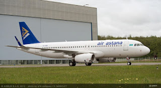 Air Astana has taken delivery of its first A320 aircraft equipped with Airbus' Sharklet fuel saving wing tip devices