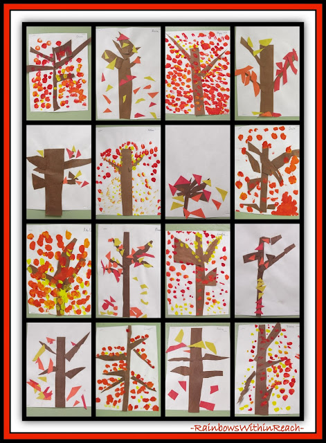 Fall Trees Painted in Kindergarten via RainbowsWithinReach
