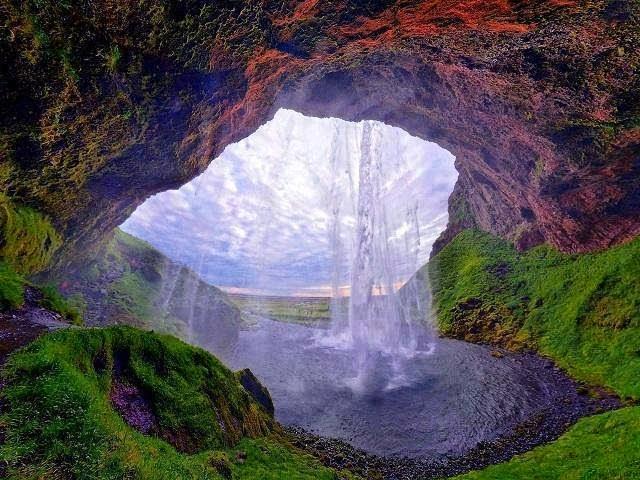 cave, waterfall